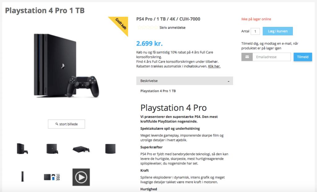 PS4 Pro på tilbud i Bilka til 2.699,-