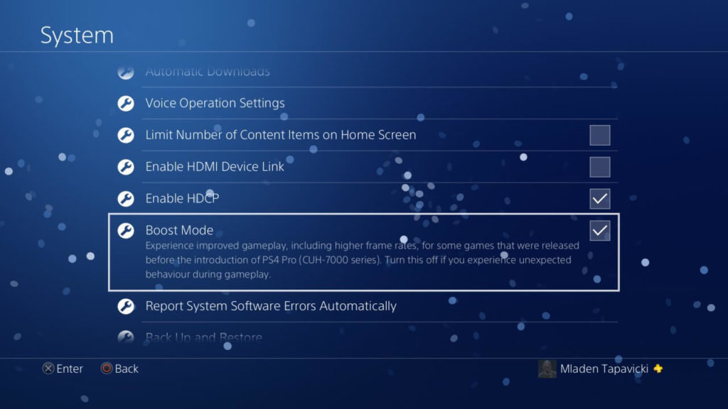 PS4 Pro - Boost Mode