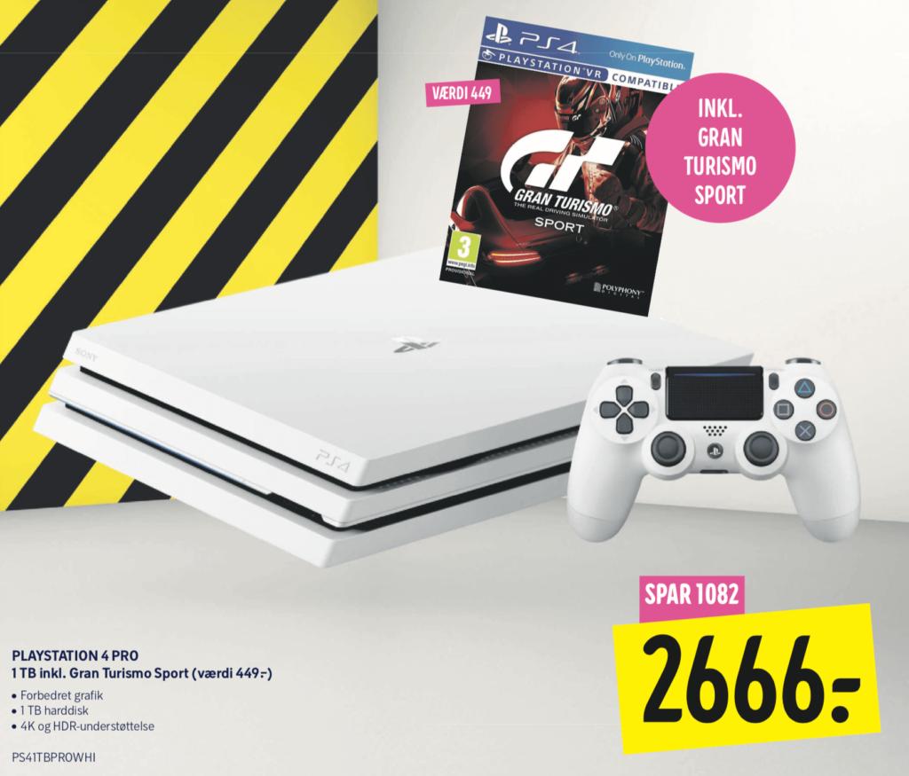 PS4 Pro hvid på tilbud til 2666kr i Elgiganten