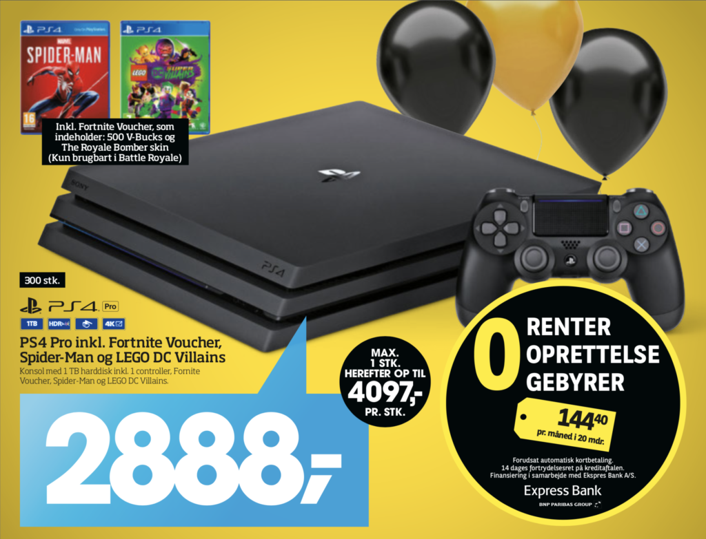 PS4 Pro til 2888,- inkl Spiderman, Lego CD og Fortnite